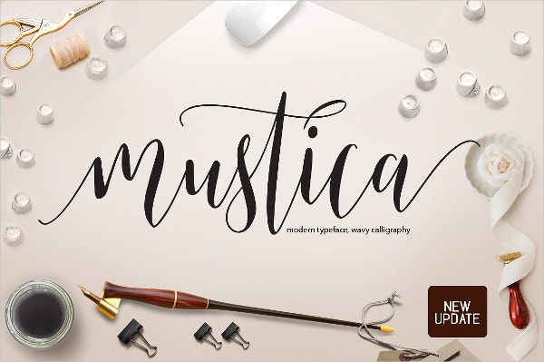 Fancy Mustica Script Font