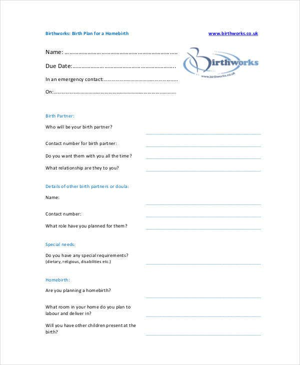 Birth Plans Home Birth Plan Template Birth Plan Template 15 – Sample Birth Plan