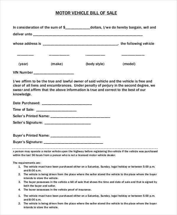 Bill of sale template 15 free word pdf documents Motor vehicle bill of sale pdf