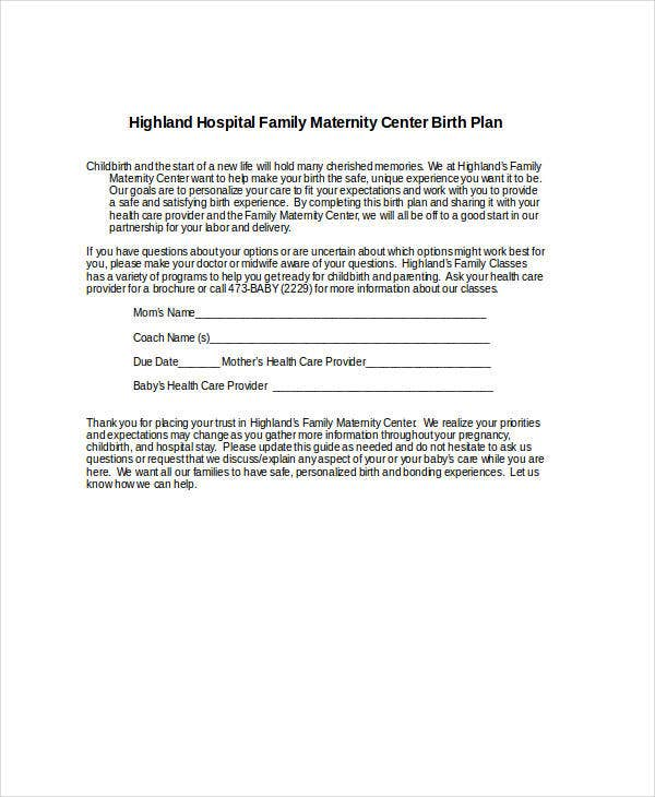 hospital birth plan template