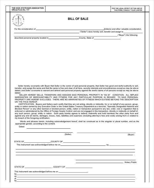 Bill Of Sale Template - 15+ Free Word, Pdf Documents Download