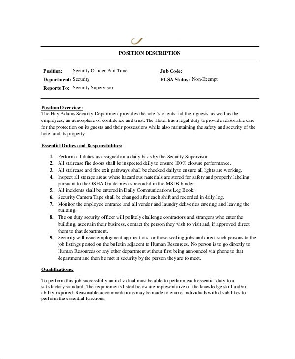 hotel security guard job description template supervisor resume format officer information