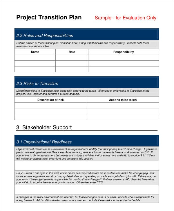 Transition Plan Template   Free Sample Example Format  Free