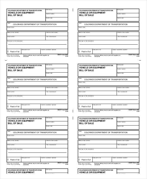 Bill Of Sale Template   Free Word Pdf Documents Download