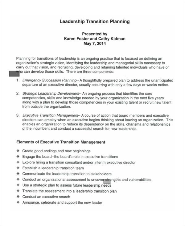 Leadership Transition Plan Template