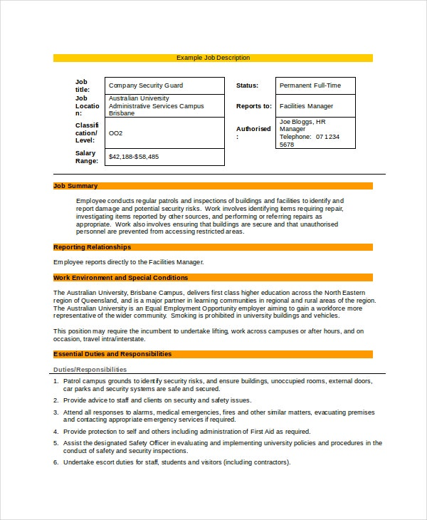 7+ Security Guard Job Descriptions - Free Sample, Example, Format