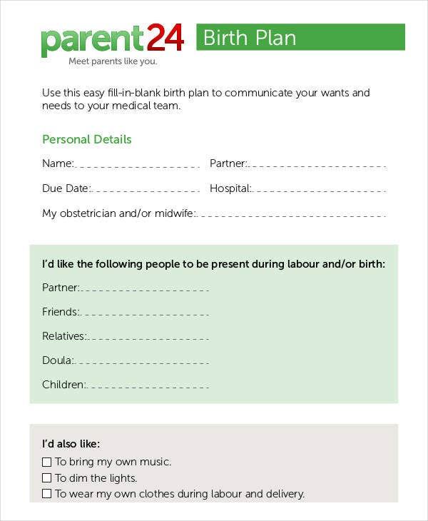 parental birth plan template