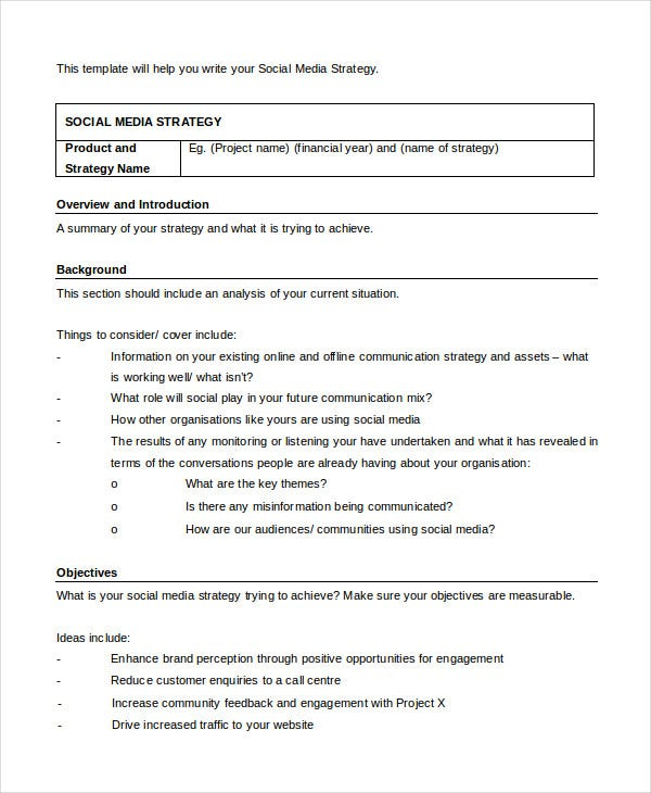 Social Media Strategy Template Free Word PDF Documents - Social media content strategy template