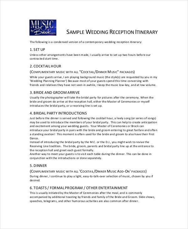 7 wedding itinerary template free sample example format