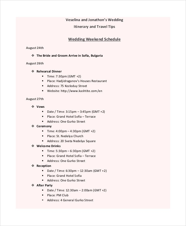 Wedding Itinerary Template  Free Sample Example Format
