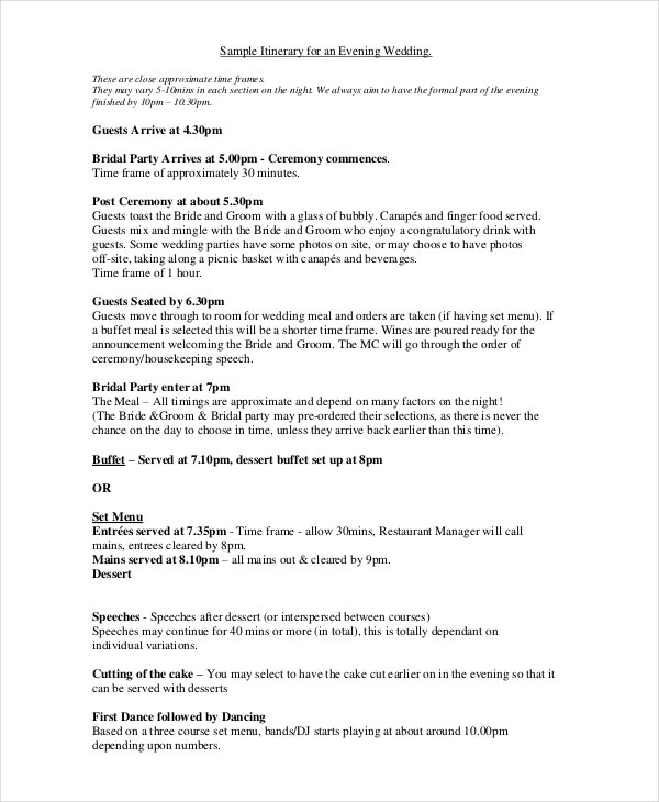wedding itinerary example template for guests