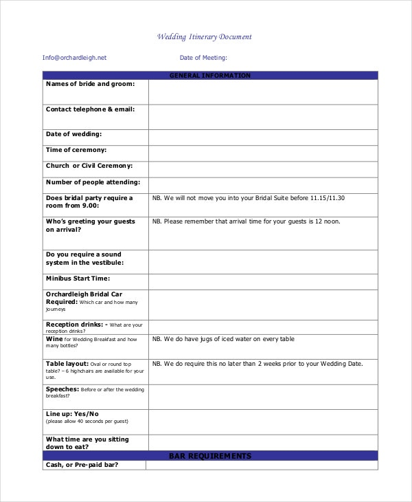 standard-wedding-itinerary-document-template