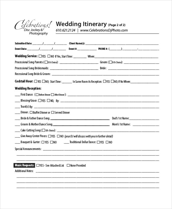 sample reception itinerary template