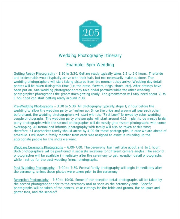wedding photography itinerary template