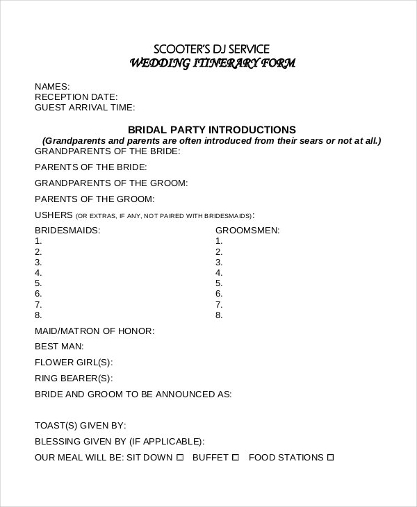 wedding itinerary form template example