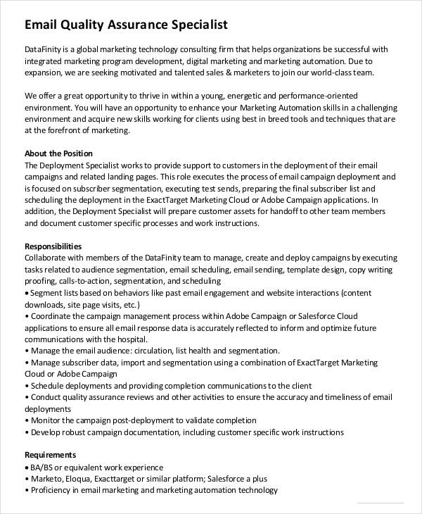 Email Quality Assurance Specialist Job Description