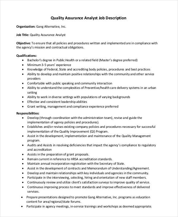 Quality Assurance Job Description - 8+ Free Pdf Documents Download