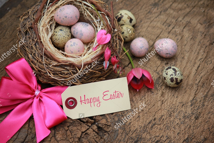 happy easter with pink tag