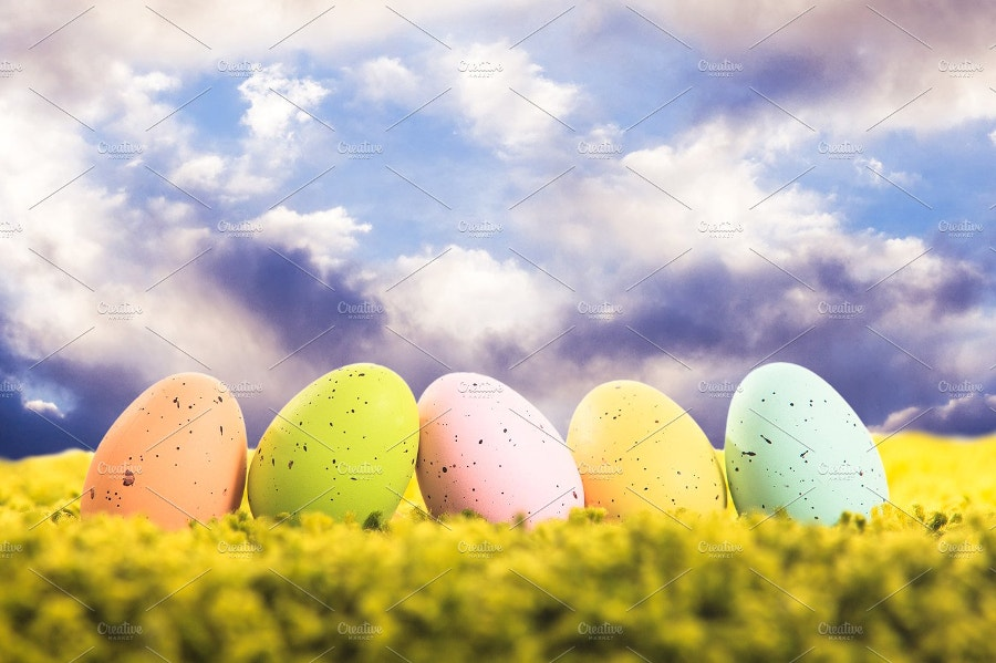 easter eggs under pleasent sky