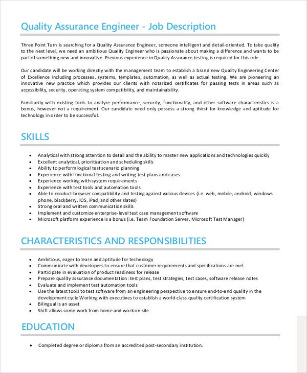 Quality Assurance Job Description Templates  Pdf Doc  Free