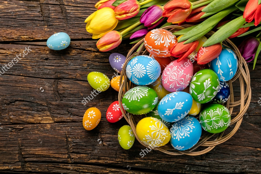 easter eggs on wooden planks