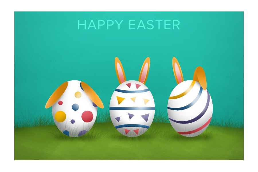 cartoon style easter eggs