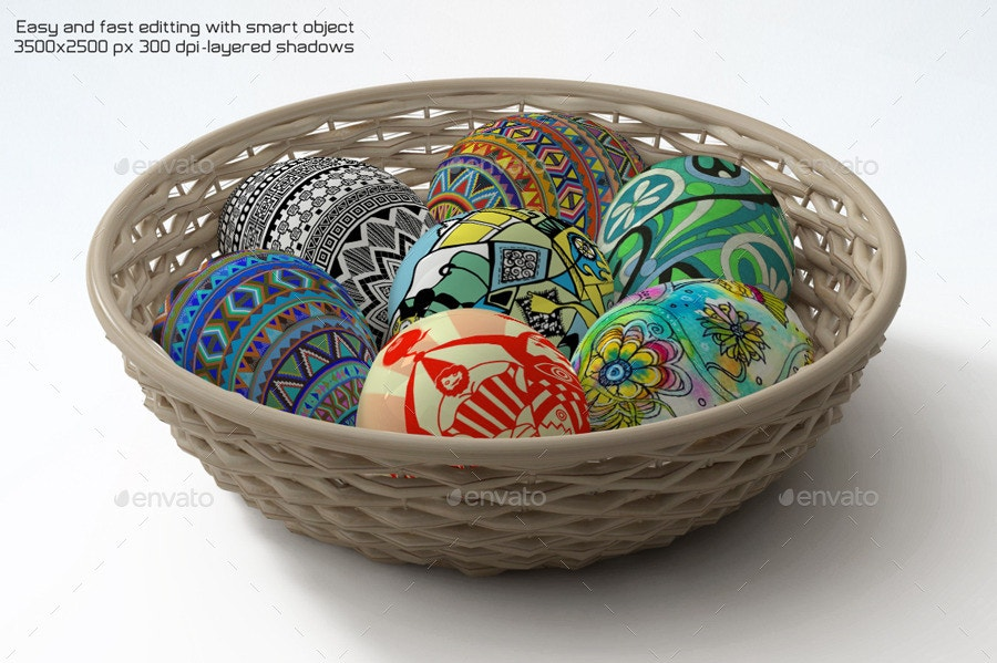 beautiful easter eggs mock up