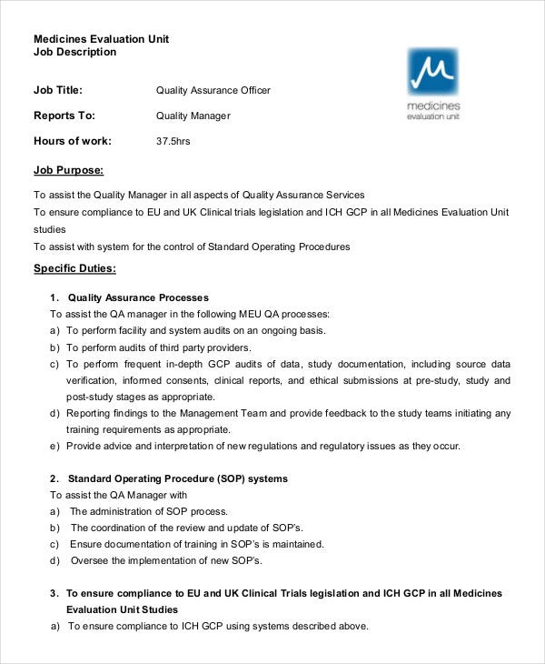 Superb Quality Assurance Officer Job Description