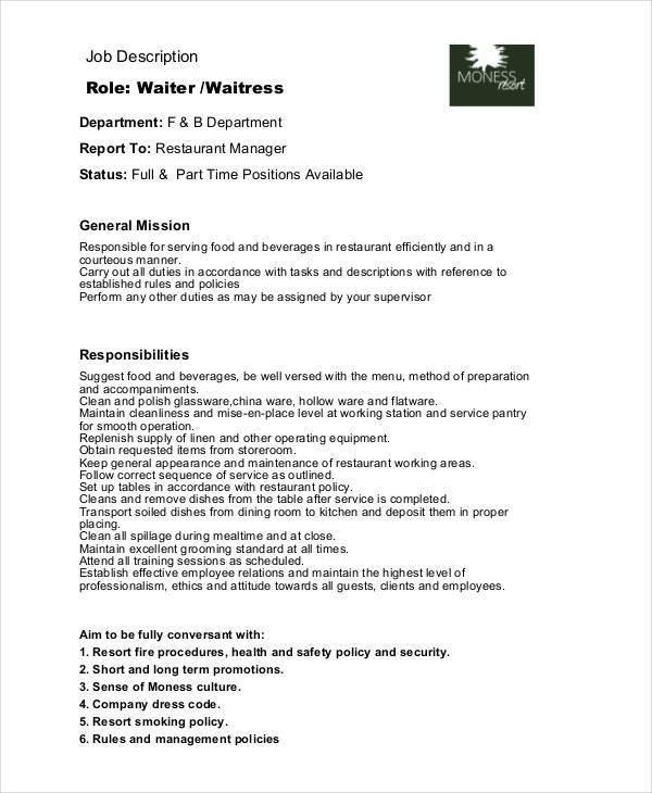 6 waitress job descriptions free sample example for Example of a job description template