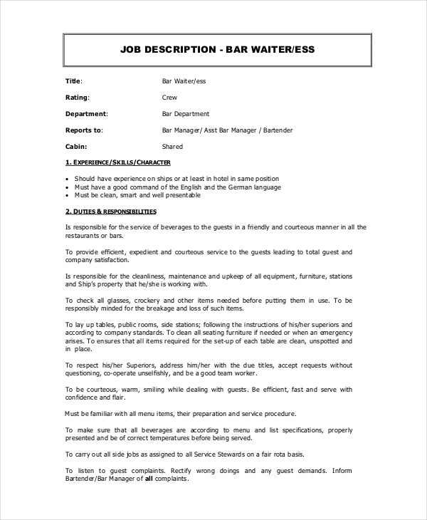 bar waitress job description template