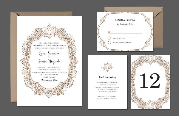 Elegant Mehndi Wedding Suite Invitation