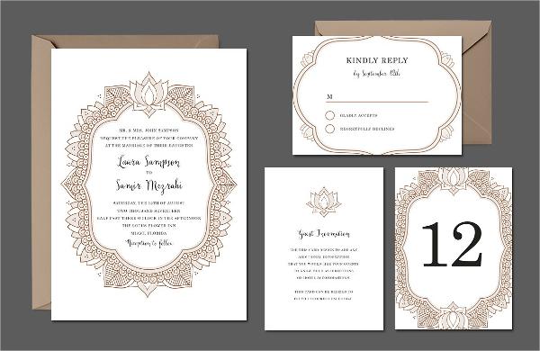 elegant mehndi wedding suite invitation