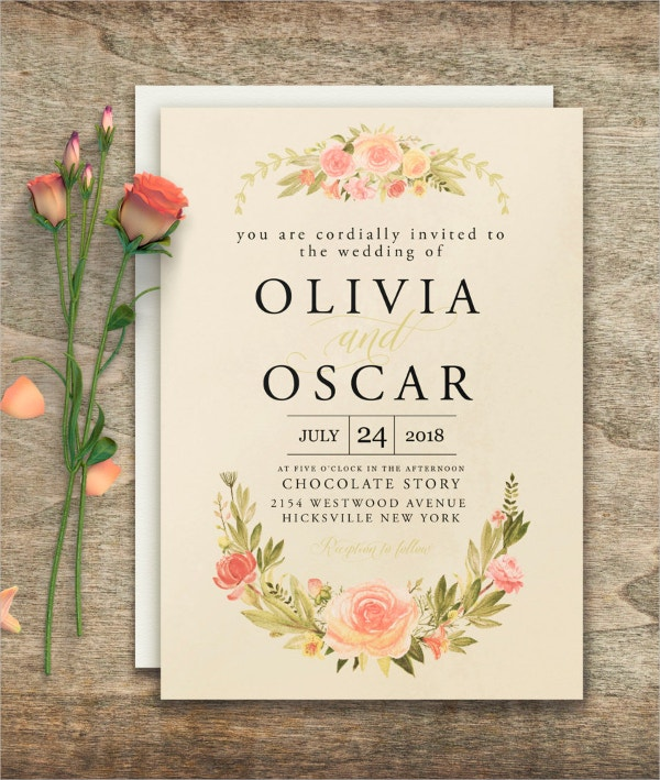 Floral Elegant wedding invitation Template