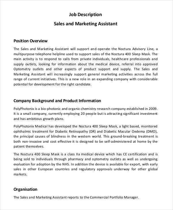 Marketing Assistant Job Description 8 Free Word PDF Documents – Sales Assistant Job Description