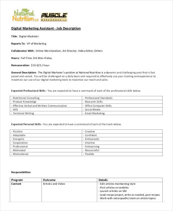 digital marketing assistant job description template download. Resume Example. Resume CV Cover Letter