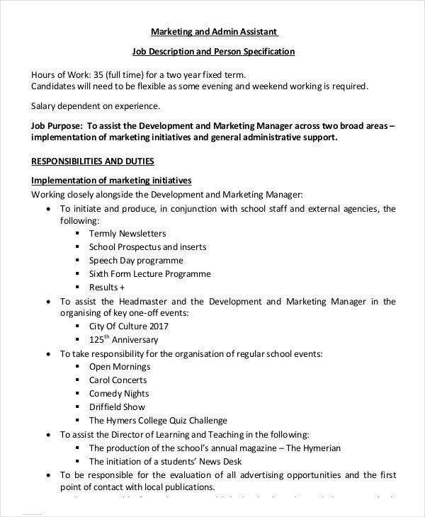 Marketing Assistant Job Description Templates  Pdf Doc  Free