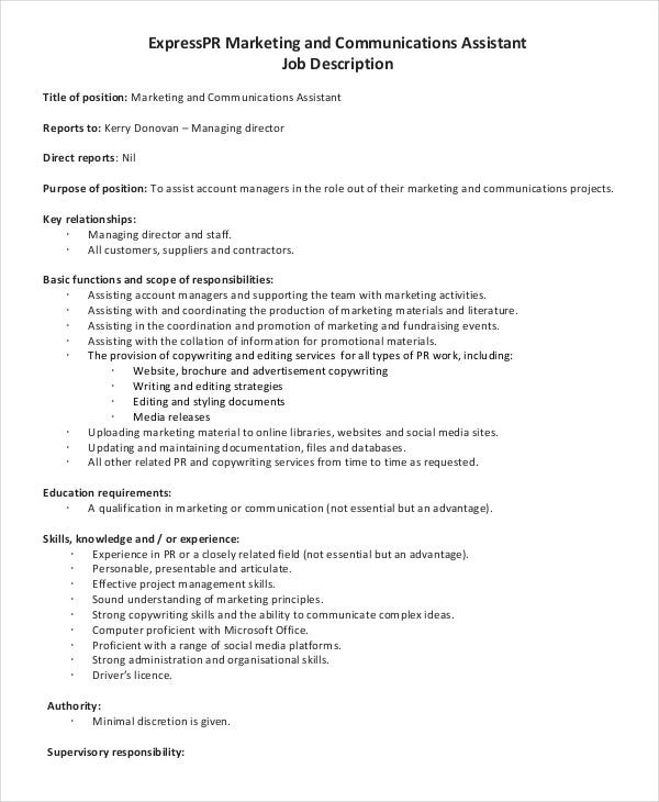 Marketing Assistant Job Description 8 Free Word PDF Documents – Social Media Marketing Job Description
