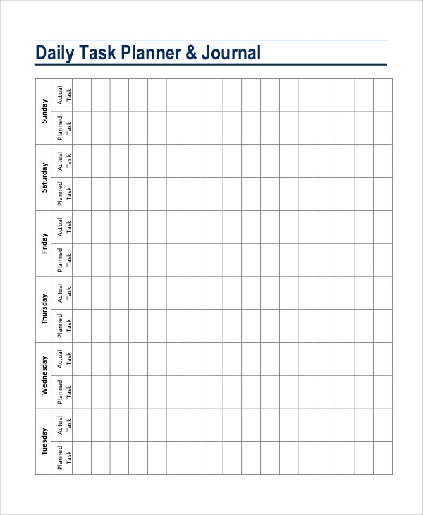Daily planner template 7 free pdf psd documents for Template for daily tasks