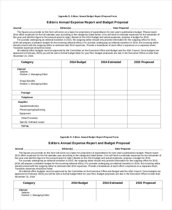 Annual Expense Report Template  Annual Expense Report Template
