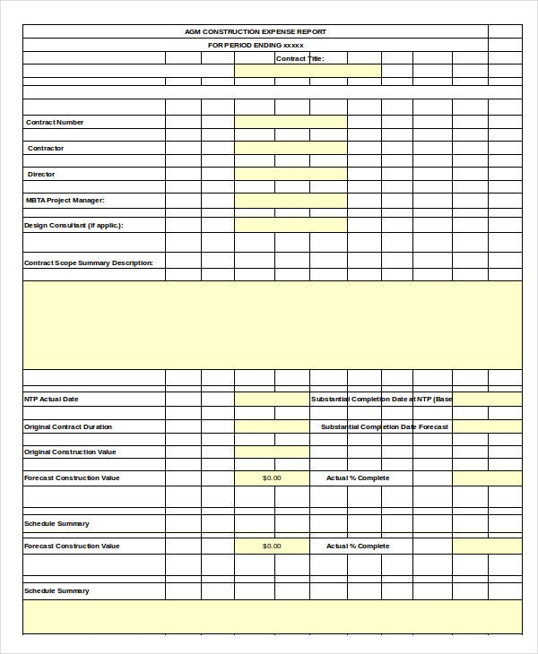 construction-expense-report-template