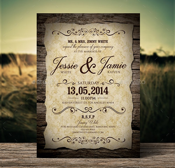 18 vintage wedding invitations free psd vector ai eps for Free rustic wedding invitation templates