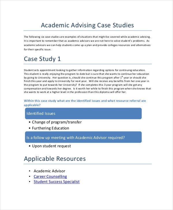 academic advising case study template example