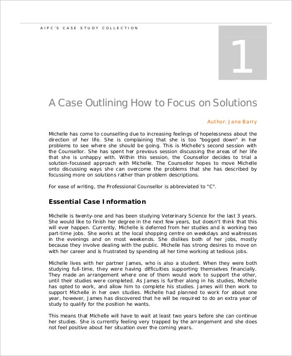 counselling case study template example