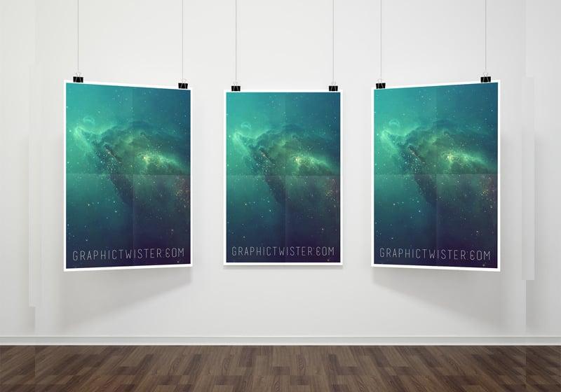 Hanging Poster Frame Mockup PSD