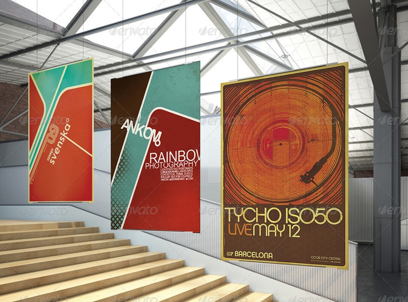 creative indoor poster mock up