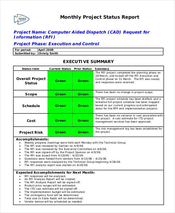 Status report template 10 free word pdf documents for Executive summary project status report template