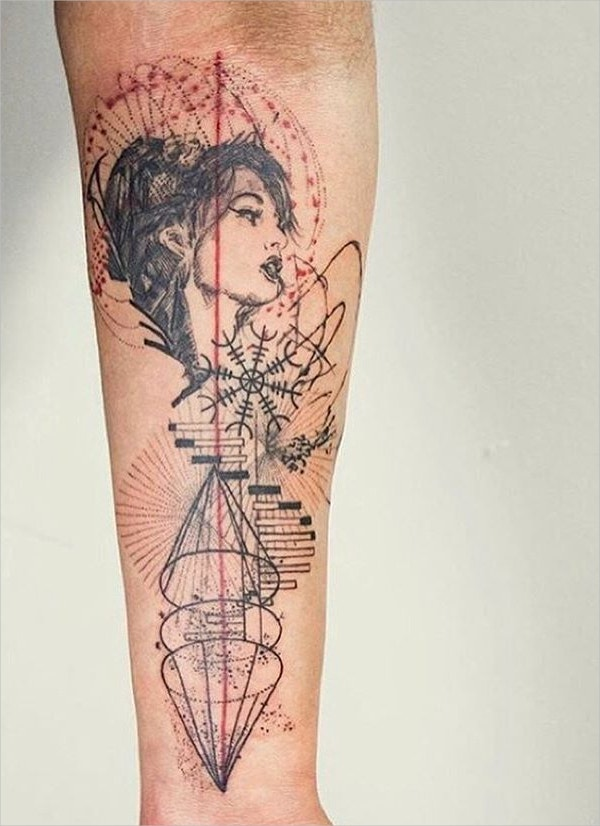 Beautiful Girl Geometric Tattoo