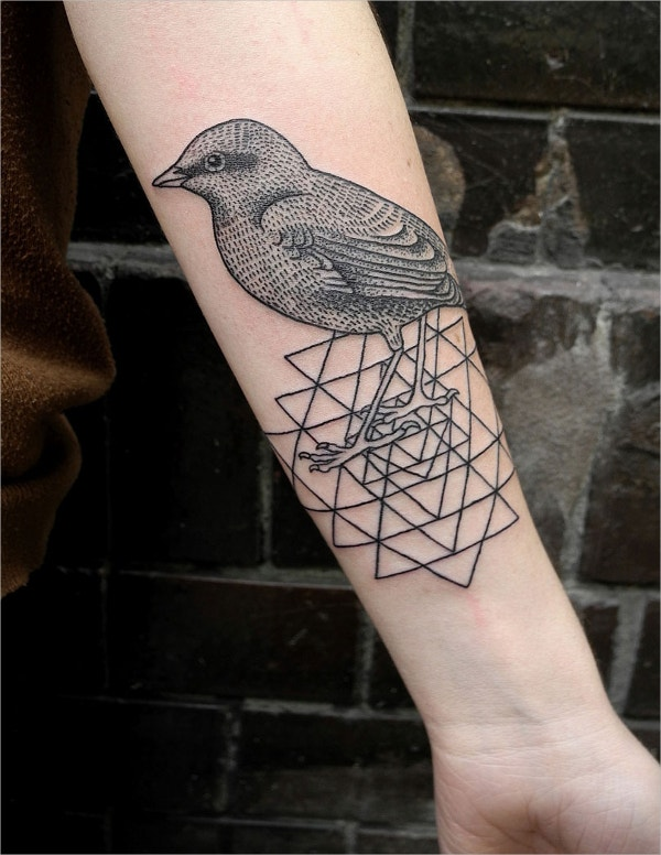 geometric bird tattoo2