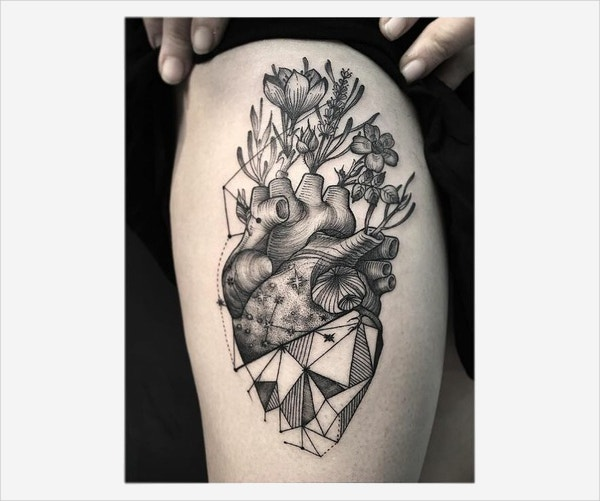 Heart Design Geometric Tattoo