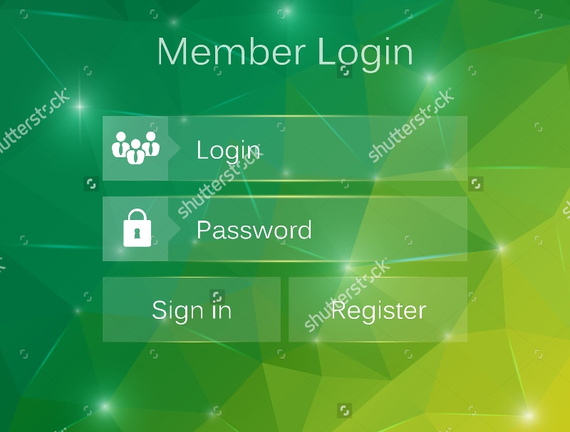 Creative Concept Vector Member Login Form